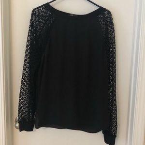 LOFT Black Mesh Sleeve Blouse Size Large